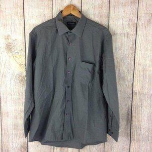 Pierre Cardin Grey Slim Fit Button Up Shirt Sz L